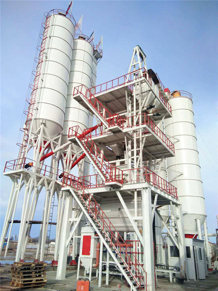 Dry mix mortar plant with sand dryer and ball mill  in Russia