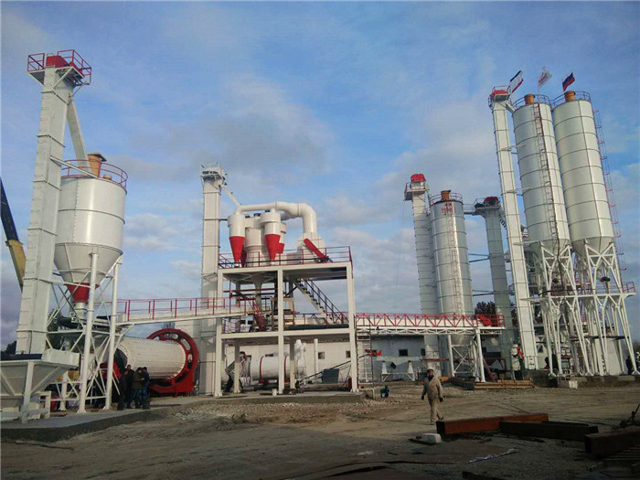 grinding mill and Dry mix mortar plant with sand dryer in Russia