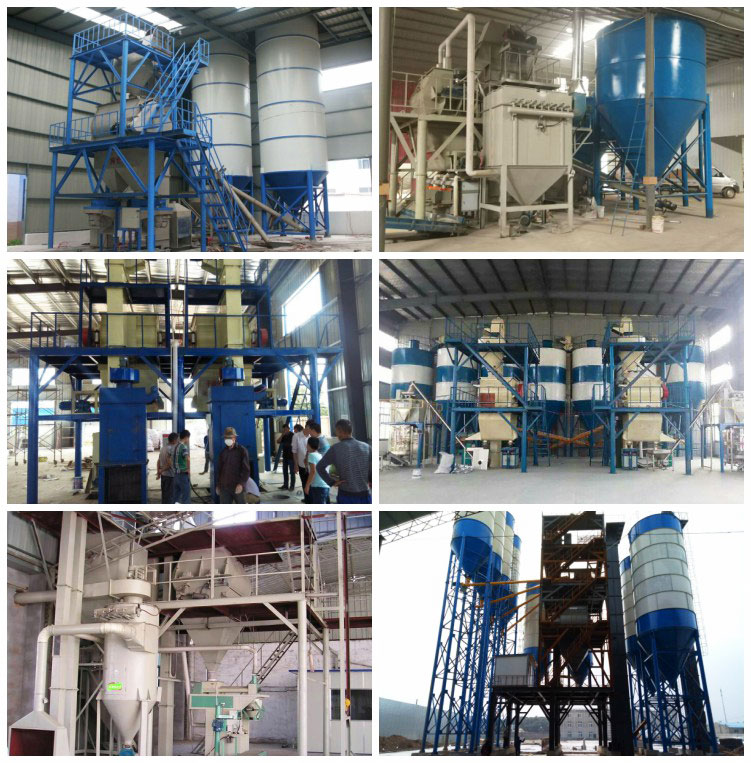 working site of ceramic tile adhesive mortar production lin